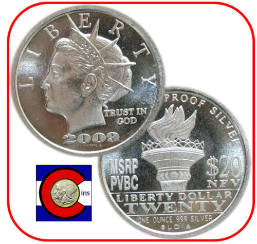 2009 Norfed Liberty Torch Back II 1 oz Silver $20 Proof Round//Coin in airtite