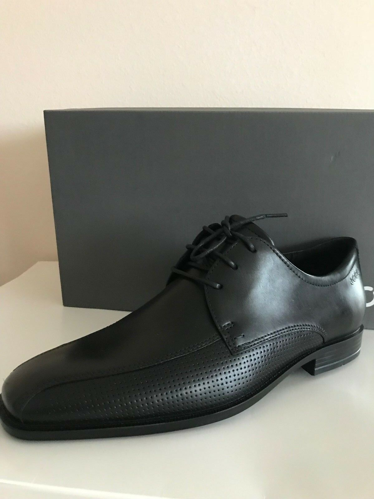 NEW ECCO EDINBURGH PERFORATED TIE OXFORD LACE MEN'S LEATHER SHOES BLACK