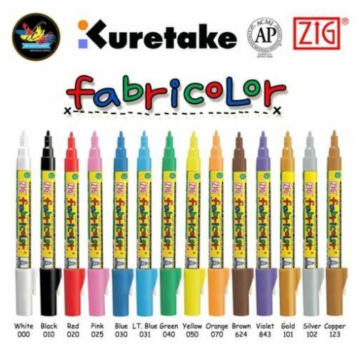 Zig Fabricolor Metallic Fabric Markers Rainbow Permanent Opaque Fabricolour