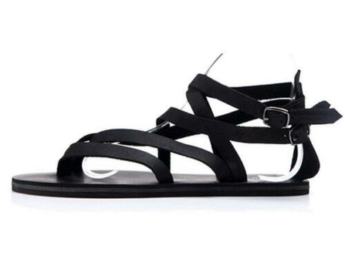 Mens Leather Gladiators Flats Flip Flip Summer Beach Sandals Shoes Strap HOT D42