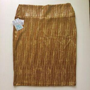 LuluRoe-Cassie-Skirt-Tan-Gold-Metal-Threads-Size-2x