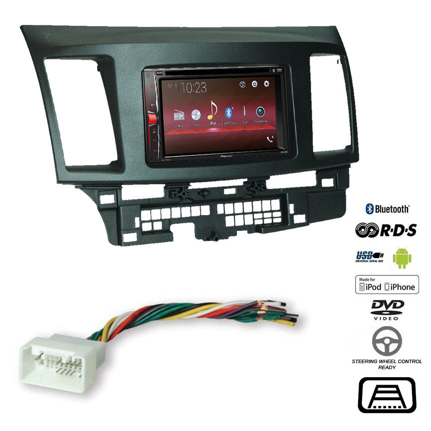 with panel for control accessori with 17398mm//178100mm//178102mm Double Din In Dash Car Stereo Installation Kit Car Radio Stereo CD Player Dash Install Kit Compatible MITSUBISHI Lancer IX 2000-2010