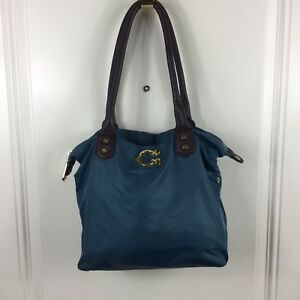 Details About C Wonder Monogram Logo Turquoise Teal Nylon Easy Tote Bag