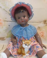 "PATSY LOU Effanbee Composition 30's era DOLL 22"" Organdy & cotton  Dress & hat"