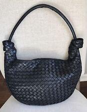 VTG Authentic BOTTEGA VENETA Italy Black Intrecciato Woven Leather Tie Hobo Bag