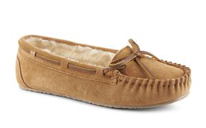 Minnetonka Womens Trapper Faux Fur Lined Suede Upper Comfort Moccasin Shoe Tan .
