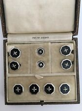 Antique Fully Boxed Cufflink Stud Set In White Gold And Onyx Art Deco