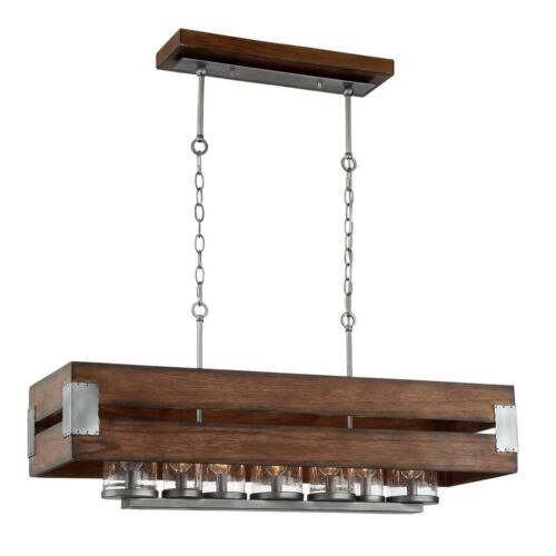 Home Decorators 7-Light Dark Wood Rectangular Chandelier with Clear Seeded Glass