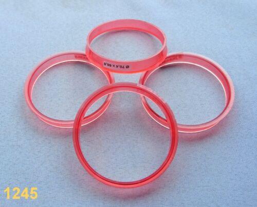 4x  Zentrierringe 70,4 mm  66,6 mm  für Alufelgen  weiß   rot  1245