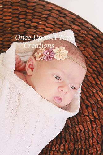 Natural Brown and Tan  Neutral Satin Flower Newborn Headband Baby Girl Hair Bow