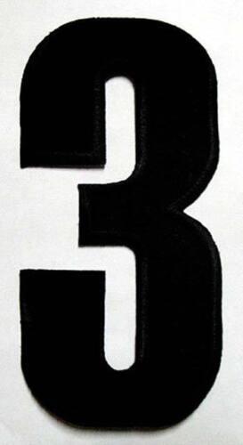 "6/"" BIG HUGE NUMBER THREE NO.3 #3 Black Sew on Patch Free Postage"