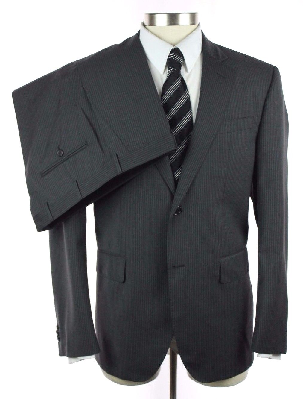 New VALENTINO ROMA Charcoal Stripe Wool 2Btn Flat Front Suit 52 42 42R