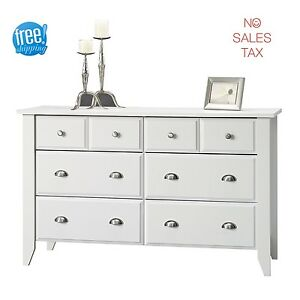 White Bedroom Dresser Furniture 6 Drawer Extra Deep Modern Wood Vintage Elegant