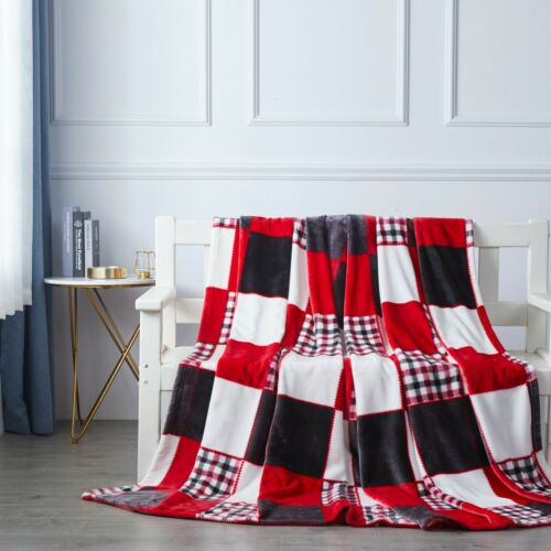 Tache Plaid Patchwork Super Soft Warm Fleece Flannel Tartan Throw Bed Blanket
