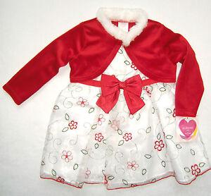 Festtagskleid Rot Weiss Neu Gr 74 92 Kleid Weihnachtskleid Bolero Blumenmadchen Ebay