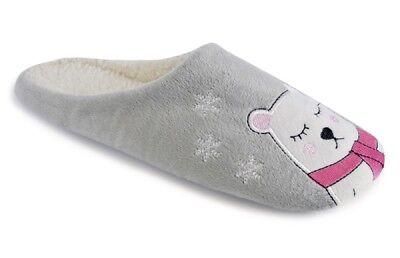 Señoras diseño de oso polar con forro suave peluda Mula Pantuflas