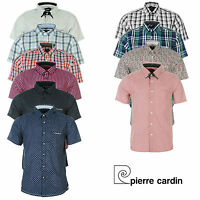 Mens Short Sleeve Shirt Pierre Cardin Casual Striped Checked Summer Office Work