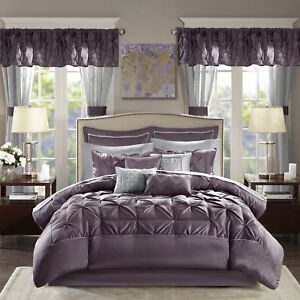 Details about Bedroom Comforter Set 24Pc Bed In A Bag Master Guest Dorm  Curtains Sheets Pillow