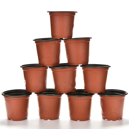 10x Mini Plastic Round Flower Pot Terracotta Nursery Planter Home Garden DecoFEH