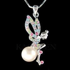 w Swarovski Crystal ~Rainbow Pearl Tinkerbell~ Tinker Bell Fairy Angel Necklace