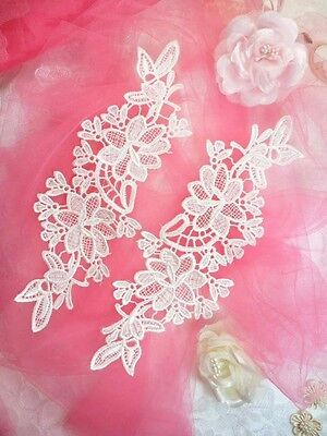 """DH90 Embroidered Lace Appliques Blue Floral Venice Lace Mirror Pair 10.5/"""""""