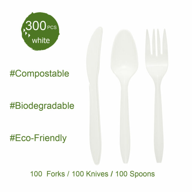 300 WOODEN BIODEGRADABLE CUTLERY SET 100 FORKS 100 KNIVES 100 SPOONS