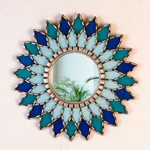 Peruvian Blue Round Mandala Wall Mirror 17 7 Silver Accent Sunflower Mirror Ebay