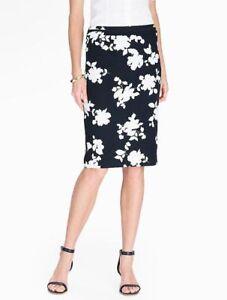 Logical New $99 Talbots Blue,white Rose Silhouette Cotton Pencil Skirt Sz 2p,2 Petite Bright Luster