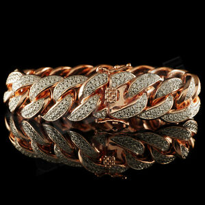 18K-Rose-Gold-FULLY-ICED-OUT-CUBAN-Miami-Link-MICROPAVE-MEN-Womens-Bracelet-15mm