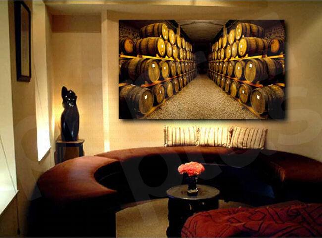 Winery Cellar Barrels Canvas Fine Art Canvas Poster Print Home Wall Decor