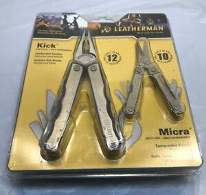 NOS-Leatherman-Kick-amp-Micra-Multitool-Combo-Pack-W-Sheath