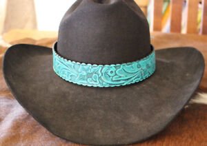 Western-Leather-Tooled-Hatband-Rodeo-Cowboy-Fashion-Tie-Horse-Show-Jean