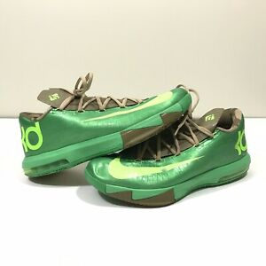 Nike-KD-VI-6-Bamboo-Brown-Lime-Green-Basketball-Shoes-Mens-Size-12-599424-301