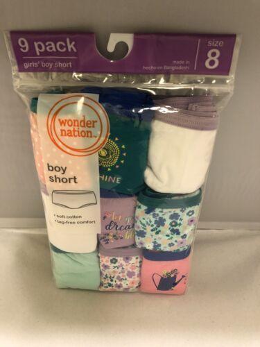 Girls Panties Kids Underwear Size 8 BoyShort Cotton 9-Pack