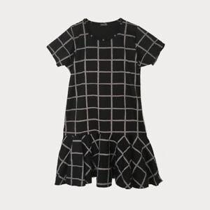 Black-Grey-Check-Tunic-Mini-Dress-Short-Sleeve-Frill-Hem-Size-18-20-22-24-26-28