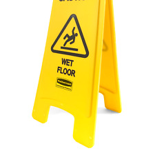 Rubbermaid Commercial Products 26 Inch Caution Wet Floor Sign 2 Sided Yel