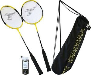 Badminton-Federball-Tennis-Set-Graphite-mit-2-Schlaeger-3-Federbaelle-und-Tasche