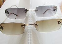 3 Pr Rimless Tint Reading Glasses Select Power Outdoors Sun Reader Tan Grey Lens