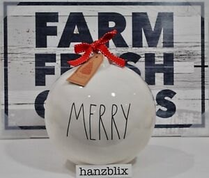 Rae-Dunn-MERRY-Ornament-Figural-Ball-with-Bow-Christmas-Display-Medium-NEW-039-19