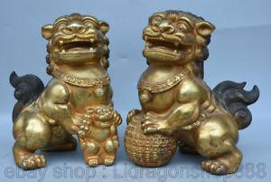 """8.4 """"vieille Chine cuivre doré Feng Shui Guardion Lion Ball Paire De Statue"""