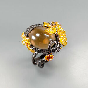 Handmade-Natural-Smoky-Quartz-925-Sterling-Silver-Ring-Size-7-R123171