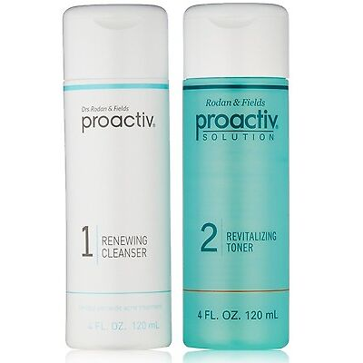 Proactiv 4 oz DUO Renewing Cleanser & Revitalizing Toner 60 day Proactive