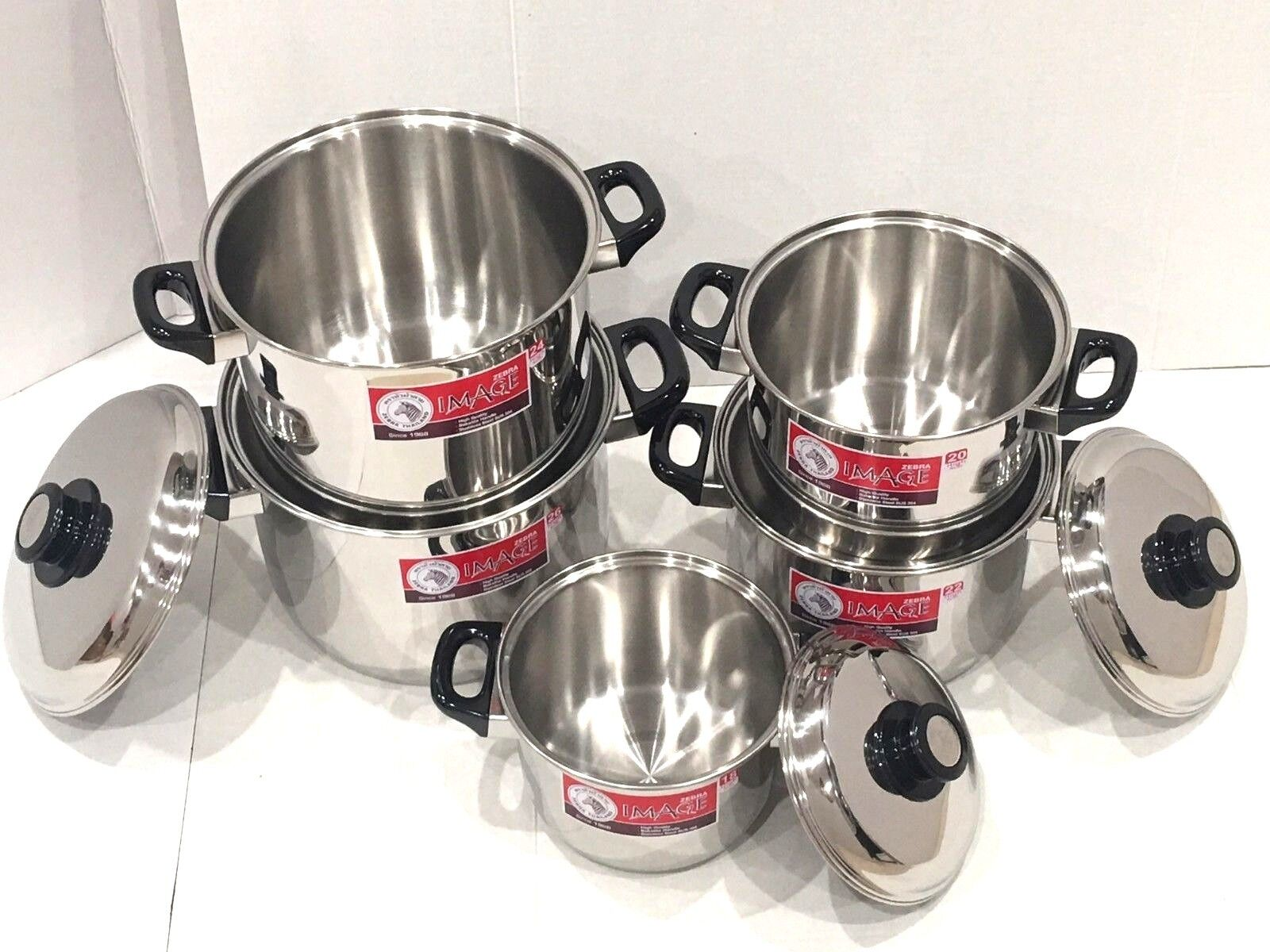 10Pcs Set Zebra Image, Stainless Steel Sauce Pot with Lid 18 - 26 CM - New
