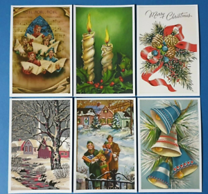 Collection-of-6-New-Vintage-Style-CHRISTMAS-Postcards-Noel-Greetings-CJ6