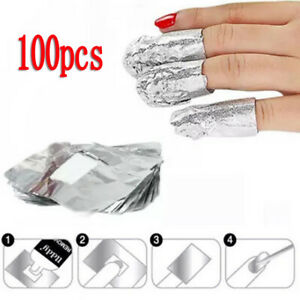 100 Pcs Aluminium Foil Nail Art Soak Off Uv Gel Polish Nail Remover