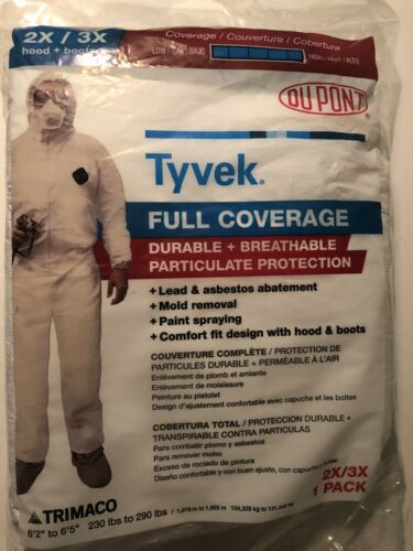 DUPONT Tyvek Full Coverage Coveralls Suit with Hood and Boots 2X//3X