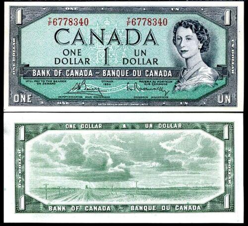 CANADA 1 DOLLAR 1954 P 75 c QEII UNC