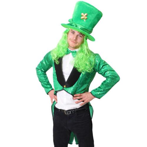 DELUXE MENS LEPRECHAUN COSTUME TAILCOAT BOW TIE TOP HAT ST PATRICKS FANCY DRESS