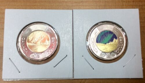 2017 CANADA 150th  Toonies Pair of Colored /& Non Colored -No Tax BU From roll