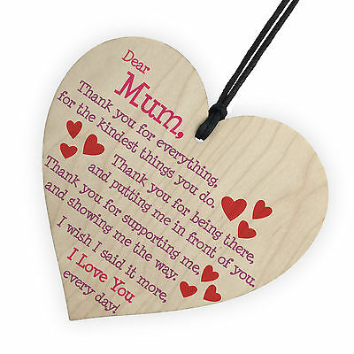 1Pc Mum I Love You Everyday Wooden Hanging Heart Mothers Day Gift Cute Mums Sign